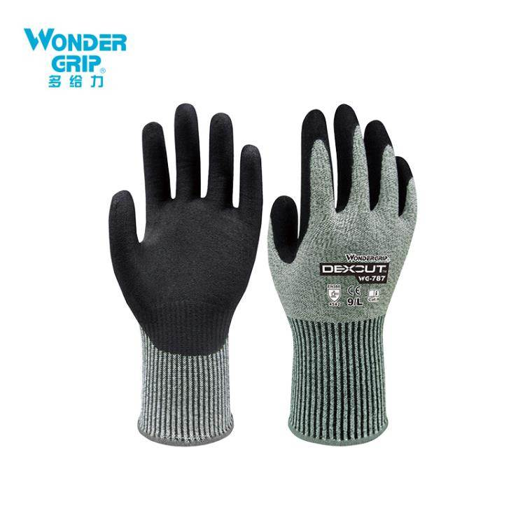 防割手套 多給力WG787五級加強防割手套勞保工作舒適丁腈浸膠耐磨防切割 【】
