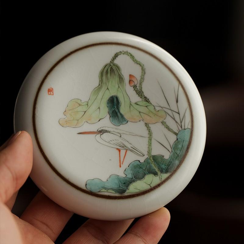 汝窯開片原創鼓形紫砂壺蓋置復古唯美荷花白鷺茶壺蓋凳蓋擱功夫茶百信