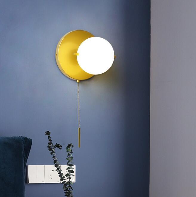 搶先福利 後現代美式簡約壁燈北歐金色圓球玻璃燈罩臥室床頭燈客廳圓形壁燈 夏季狂歡爆款