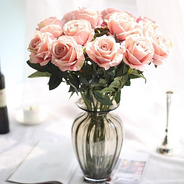 仿真花 假花 花夢谷 10支絨布玫瑰花單支 仿真花束仿真植物 家居裝飾品擺件