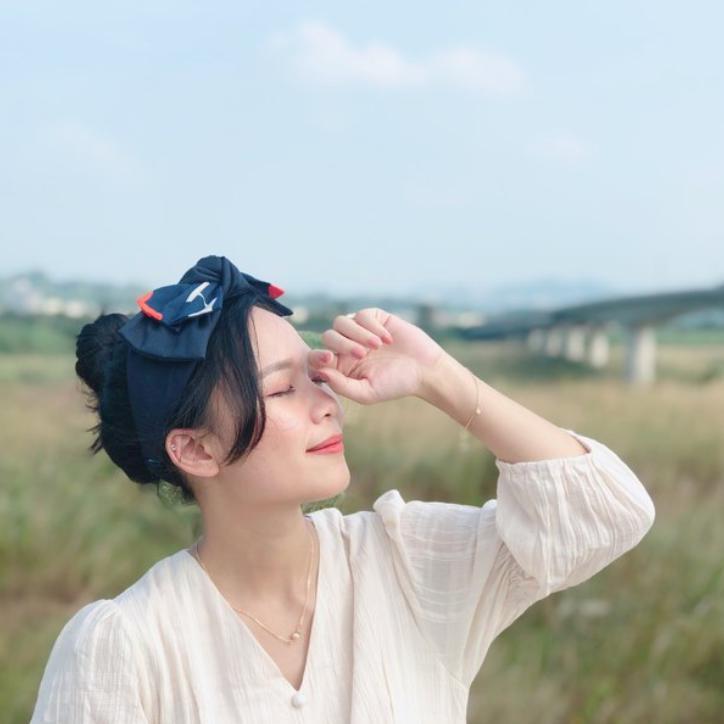 雙層大蝴蝶扭結髮帶_傾訴_藍花
