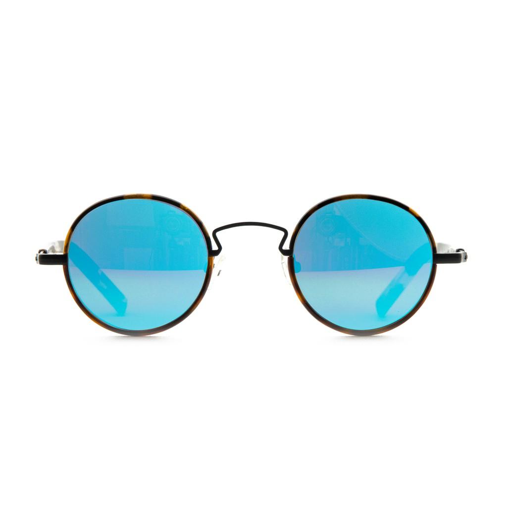 〔框框〕復古板材圓框墨鏡(玳瑁)UV400水銀鏡面太陽眼鏡〔特價〕