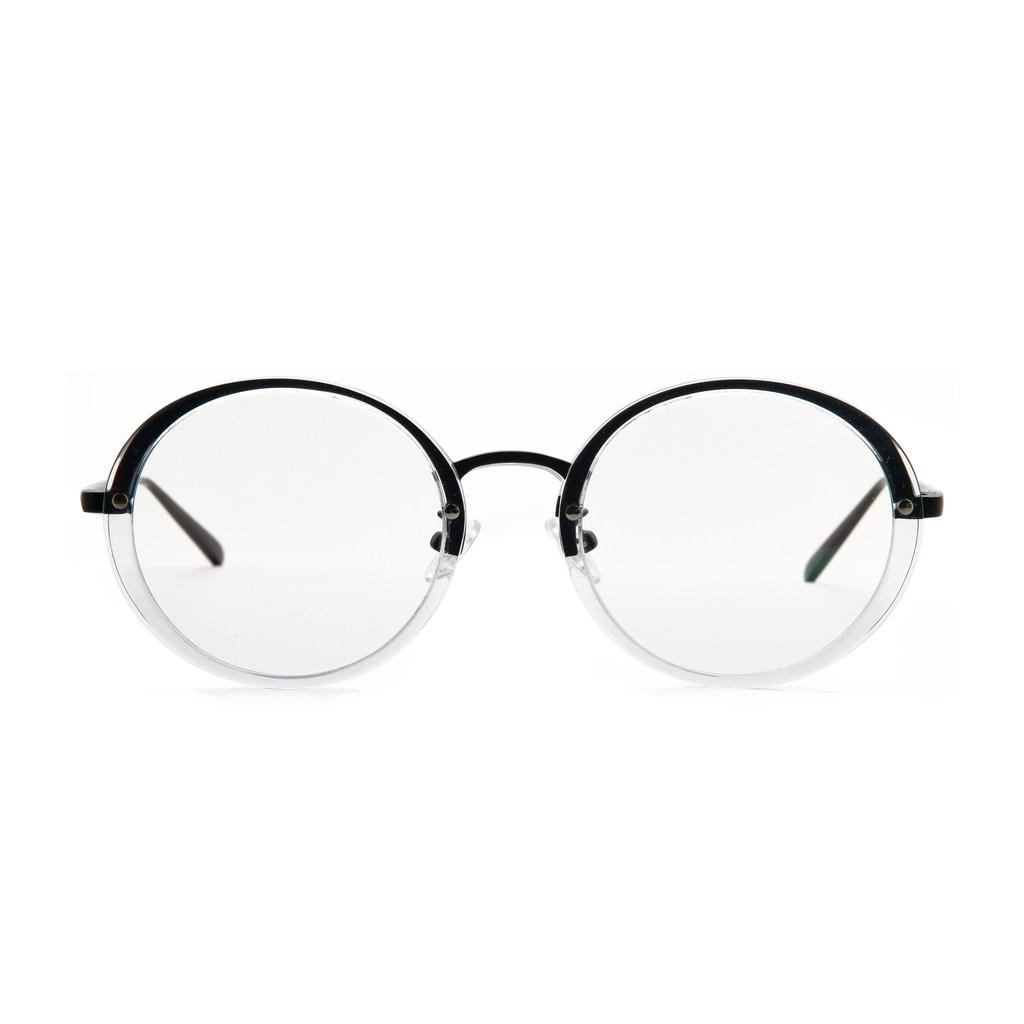 〔框框〕透明金屬大圓框眼鏡 (黑) 光學眼鏡/鏡框〔特價〕