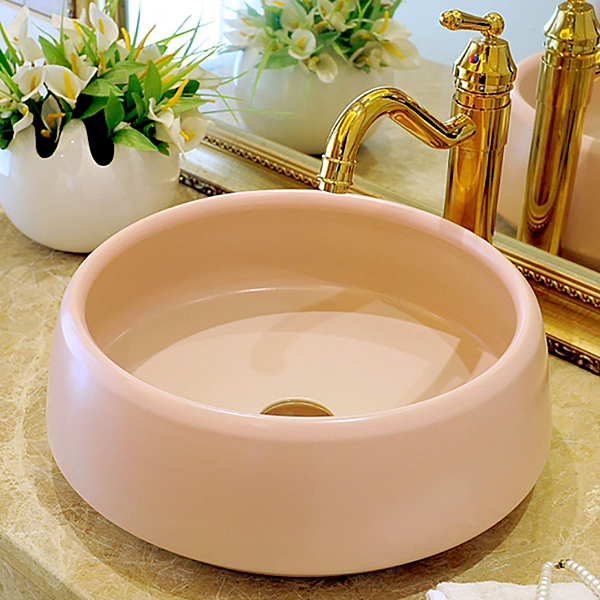 台上盆 歐式粉色單盆衛生間洗臉盆陶瓷洗手盆家用小尺寸陽臺盆水池 - 古梵希