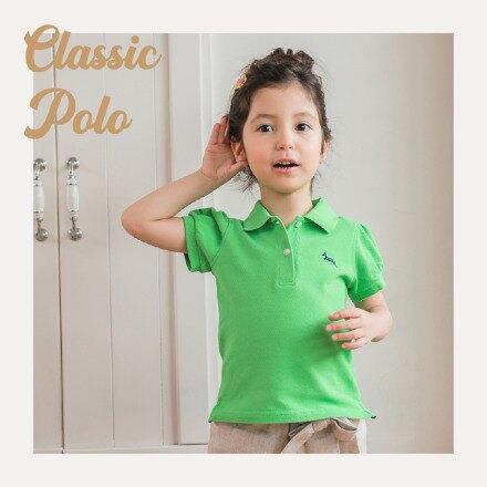 【Limitmax】兒童2歲~6歲 child 經典POLO衫 - 百搭公主袖經典綠Polo上衣  女童裝 綠色上衣 100%純棉 台灣製造