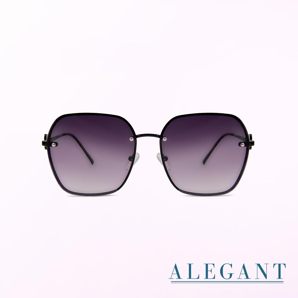 ALEGANT│英式貴族鑲鑽鏤空設計漸層仙境紫拼框透視墨鏡│UV400太陽眼鏡│女皇的薔薇王冠