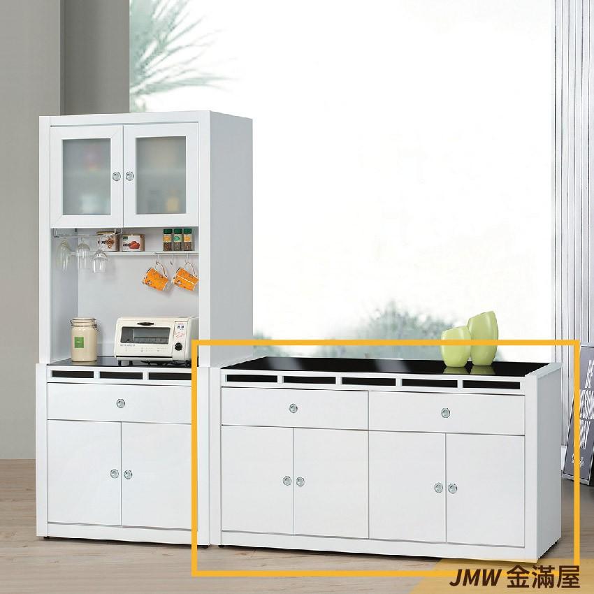 158cm北歐餐櫃收納 實木電器櫃 廚房櫃 餐櫥櫃 碗盤架 中島大理石【金滿屋】尺餐櫃-E702-2
