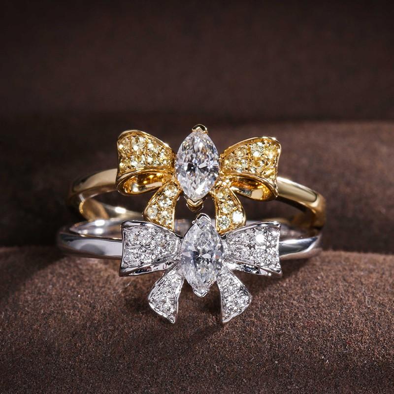 【巧品珠寶】天然鑽石馬眼型主鑽搭配豪華滿鑽蝴蝶結設計戒指(黃K色,白K色)