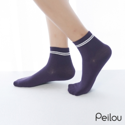 貝柔消臭精梳棉短襪-條紋(6雙組)