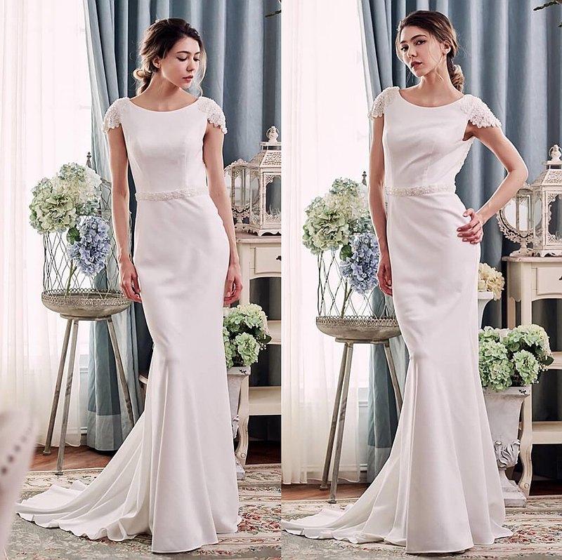 為安心亞在戲劇中設計的白紗-簡約優雅剪裁 小露背展現性感曲線