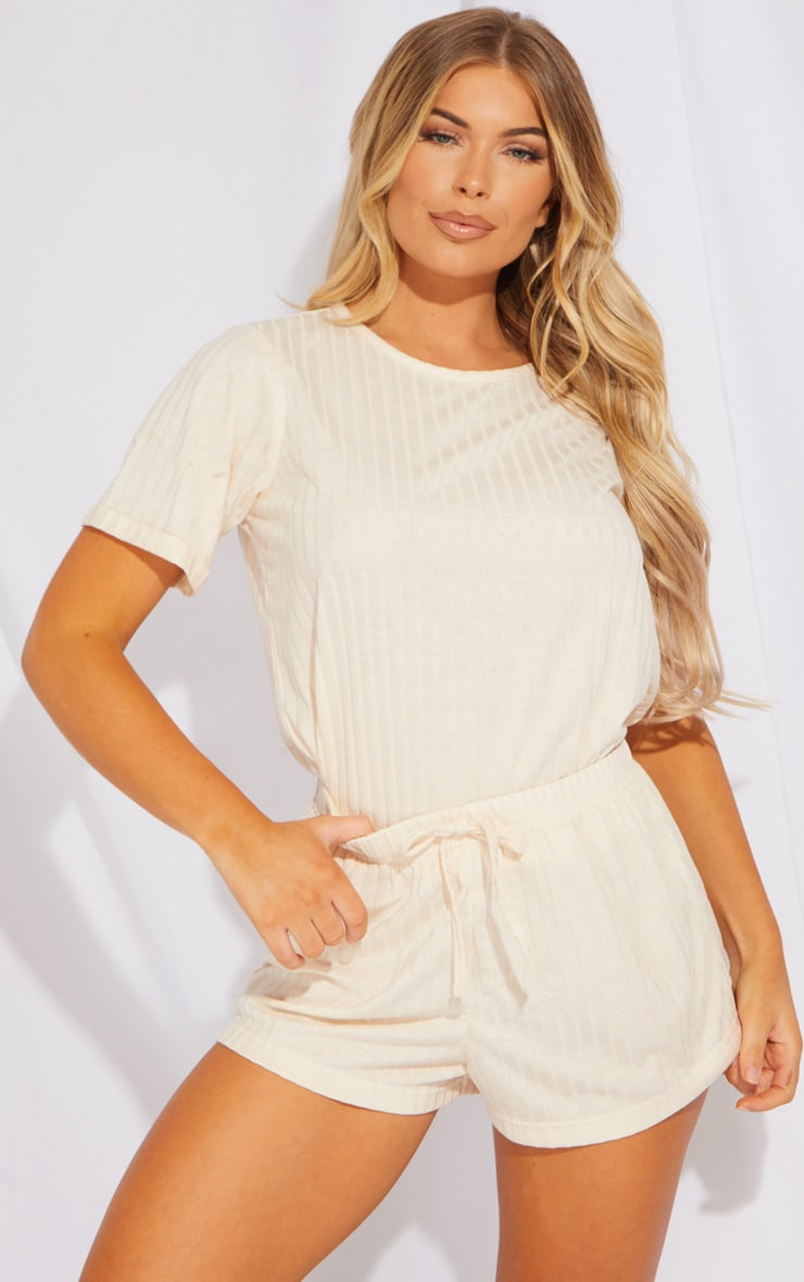 Cream Short Sleeve Top And Shorts