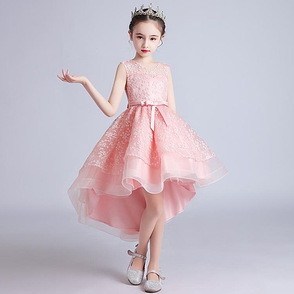 兒童禮服公主裙夏季女童洋裝鋼琴主持人花童蓬蓬婚紗拖尾演出服-年終穿搭new Year