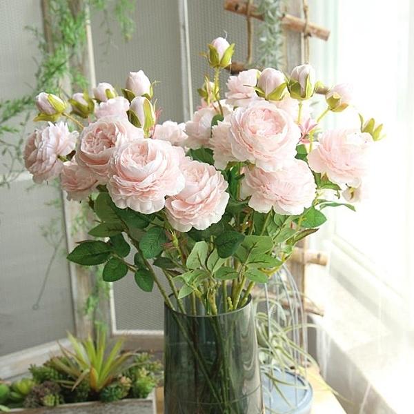 仿真花 假花 仿真牡丹花玫瑰花束婚慶家居客廳落地裝飾干花假花絹花插花擺件