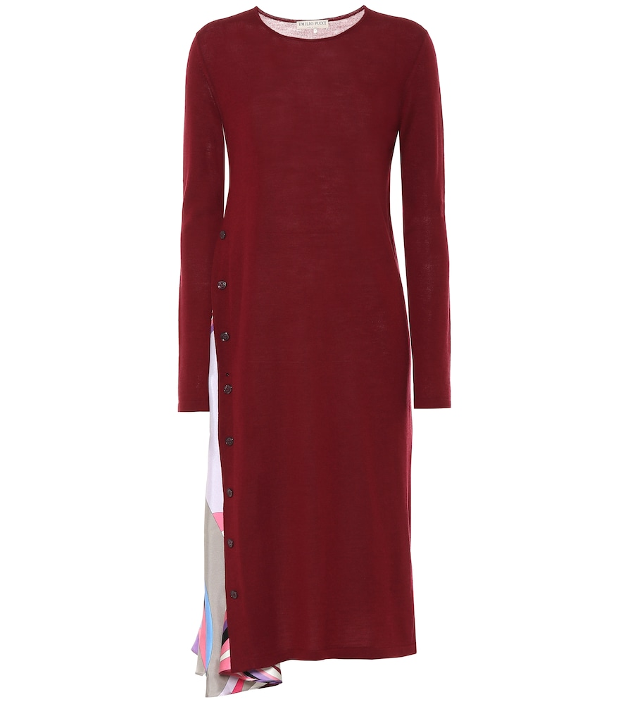 Silk-trimmed virgin wool dress