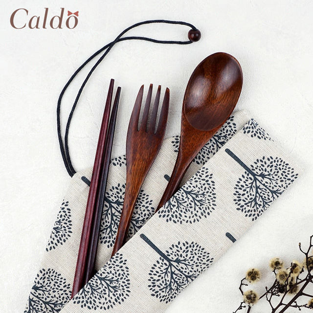【Caldo卡朵生活】山谷回響附袋木質餐具4件組