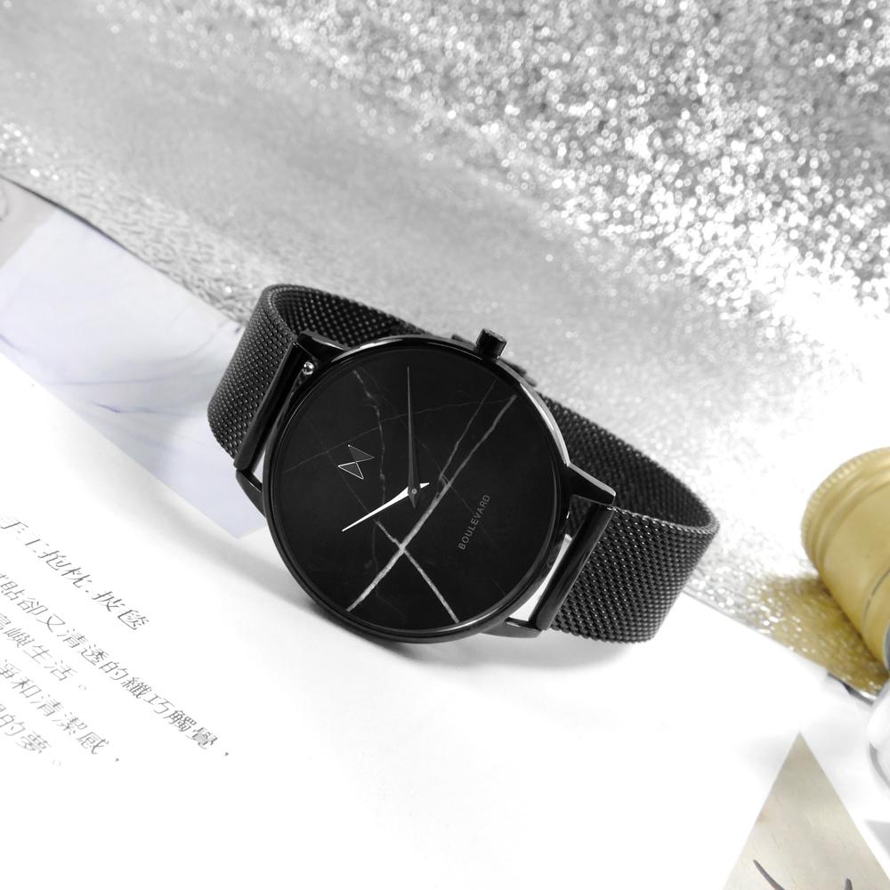 MVMT / D-MB01-BLMA / 大理石面板 日本機芯 米蘭編織不鏽鋼手錶 鍍黑 38mm