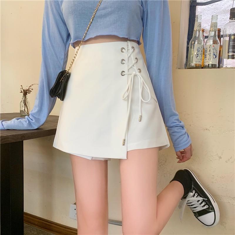 秋季新款韓版不規則綁帶高腰休閒短褲寬鬆氣質寬褲半身褲裙女
