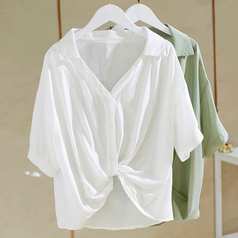 M-4XL大尺碼衣著 女士襯衫夏季新款短袖上衣胖mm寬鬆顯瘦設計感下襬打結t恤女