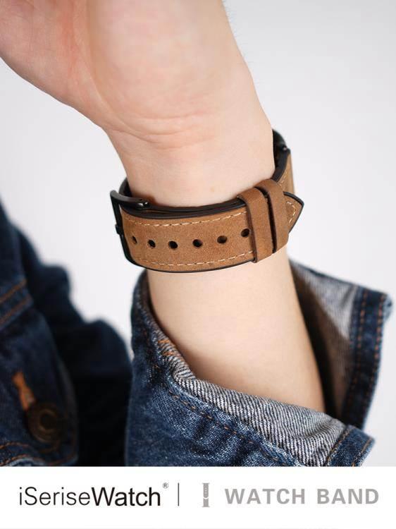 蘋果錶帶 適用蘋果手表五代真皮apple watch serises5表帶瘋馬棕紋iwatch1/2/3/4表帶硅膠貼皮