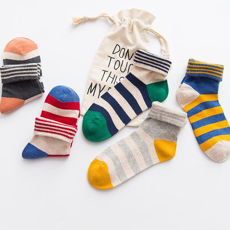 襪子 女襪 中筒襪 個性 粗條紋 拼色 棉襪 日系 翻邊 甜美 中筒靴襪 長襪 CY64