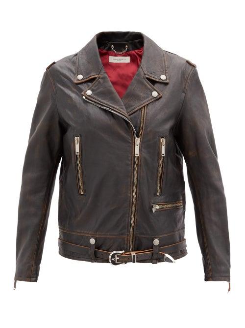 Golden Goose - Andrea Leather Biker Jacket - Womens - Dark Brown