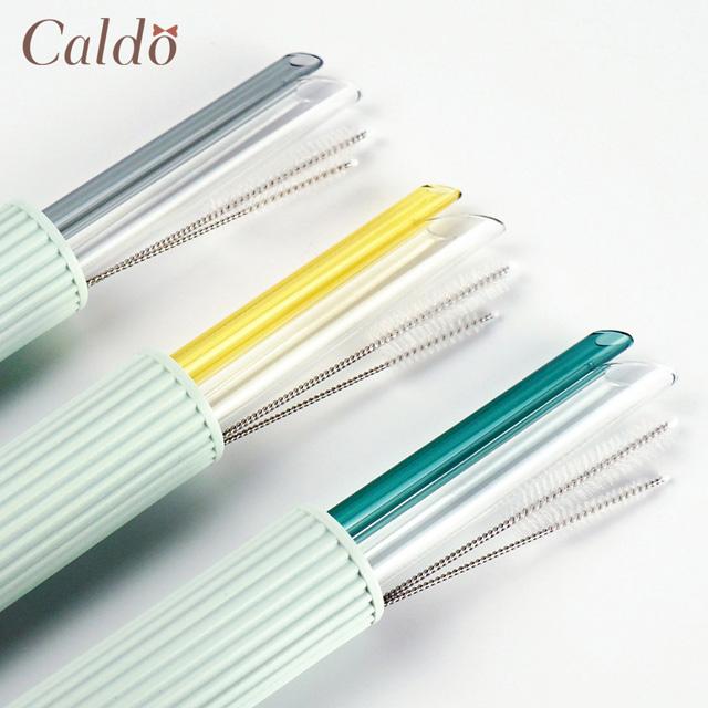 【Caldo卡朵生活】環保斜口玻璃吸管5件組(附刷+盒)