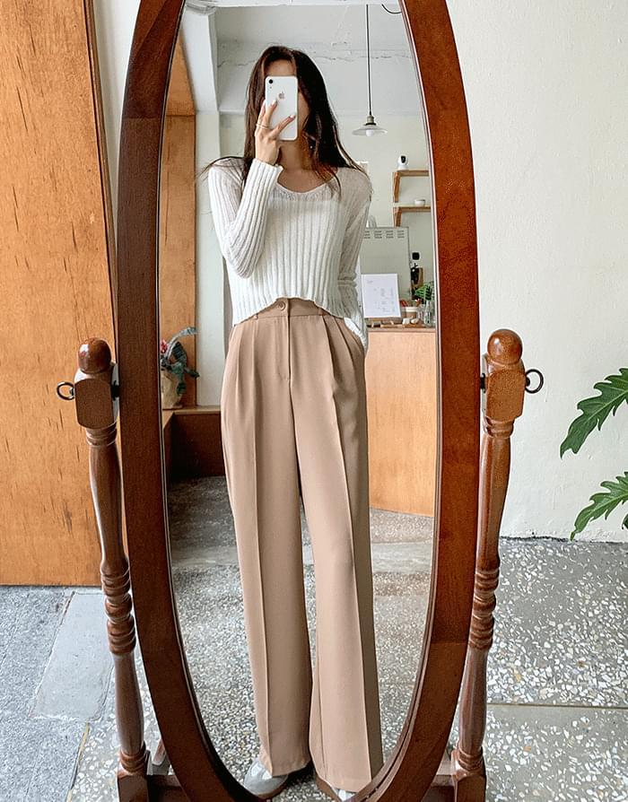 韓國空運 - 壓褶後彈力腰加長款闊腿休閒褲 長褲