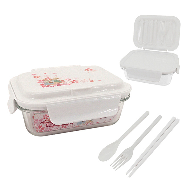 安妮兔 安妮兔 玻璃保鮮盒附餐具650ml UP-E063