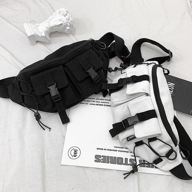 FOFU-單肩包韓版時尚帥氣街拍神器純色單肩斜跨腰包【08B-T0192】