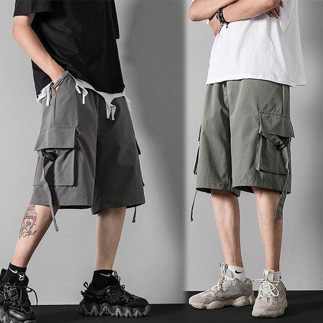 FOFU-短褲休閒百搭寬鬆寬鬆直筒工裝哈倫短褲【08B-G1000】