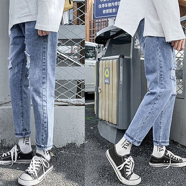 FOFU-牛仔長褲韓版休閒直筒寬鬆牛仔長褲 【08B-G0983】
