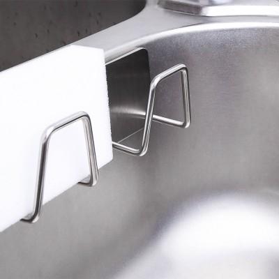 不銹鋼海綿置物架 免打孔家用廚房洗鍋刷 百潔布 瀝水架