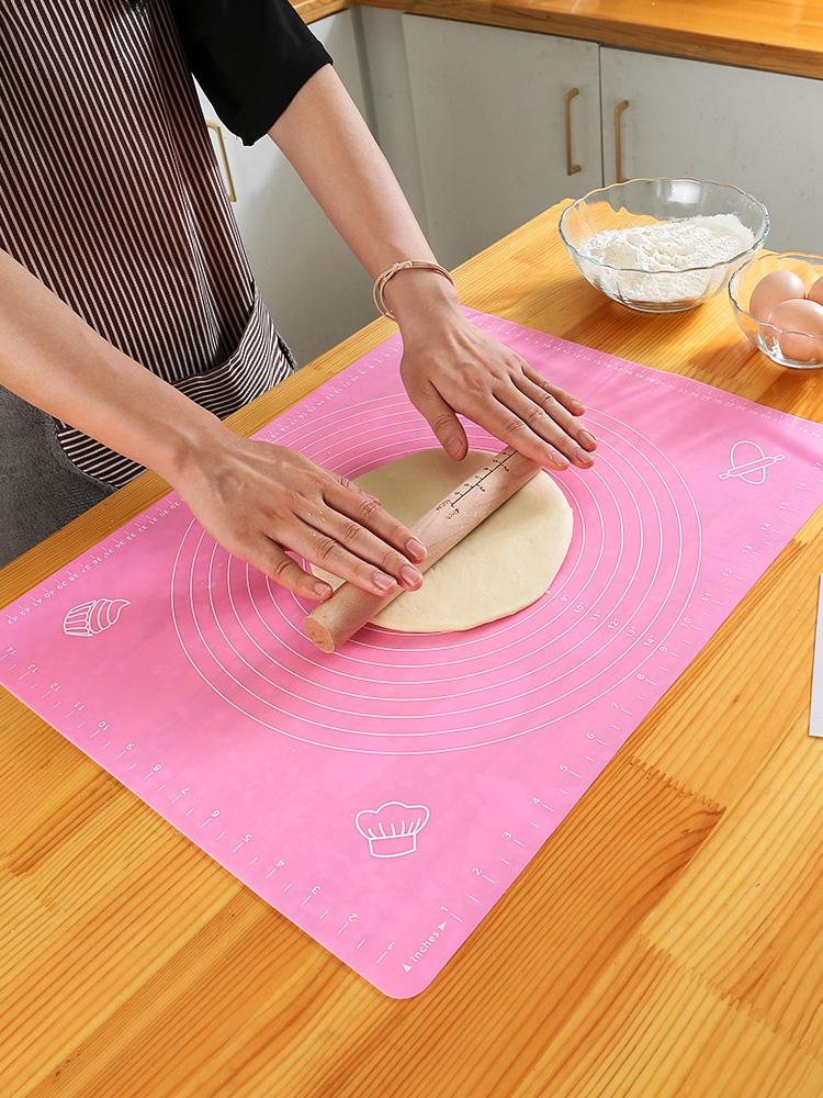 矽膠揉麵墊 (40X50cm) 防滑擀麵墊 不沾板烘焙麵板和麵墊 (顏色隨機出貨)