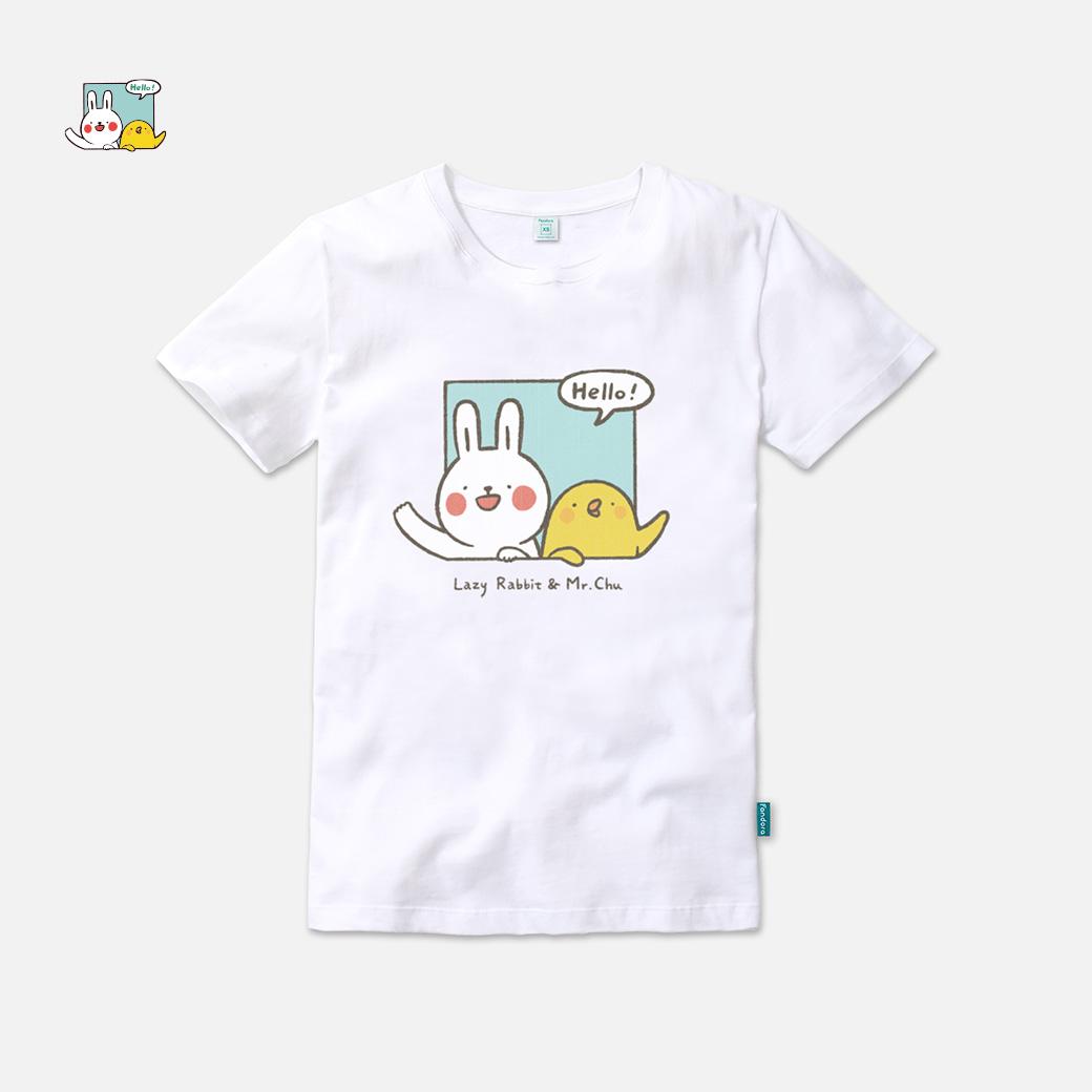 懶散兔與啾先生_say Hello棉花白T恤