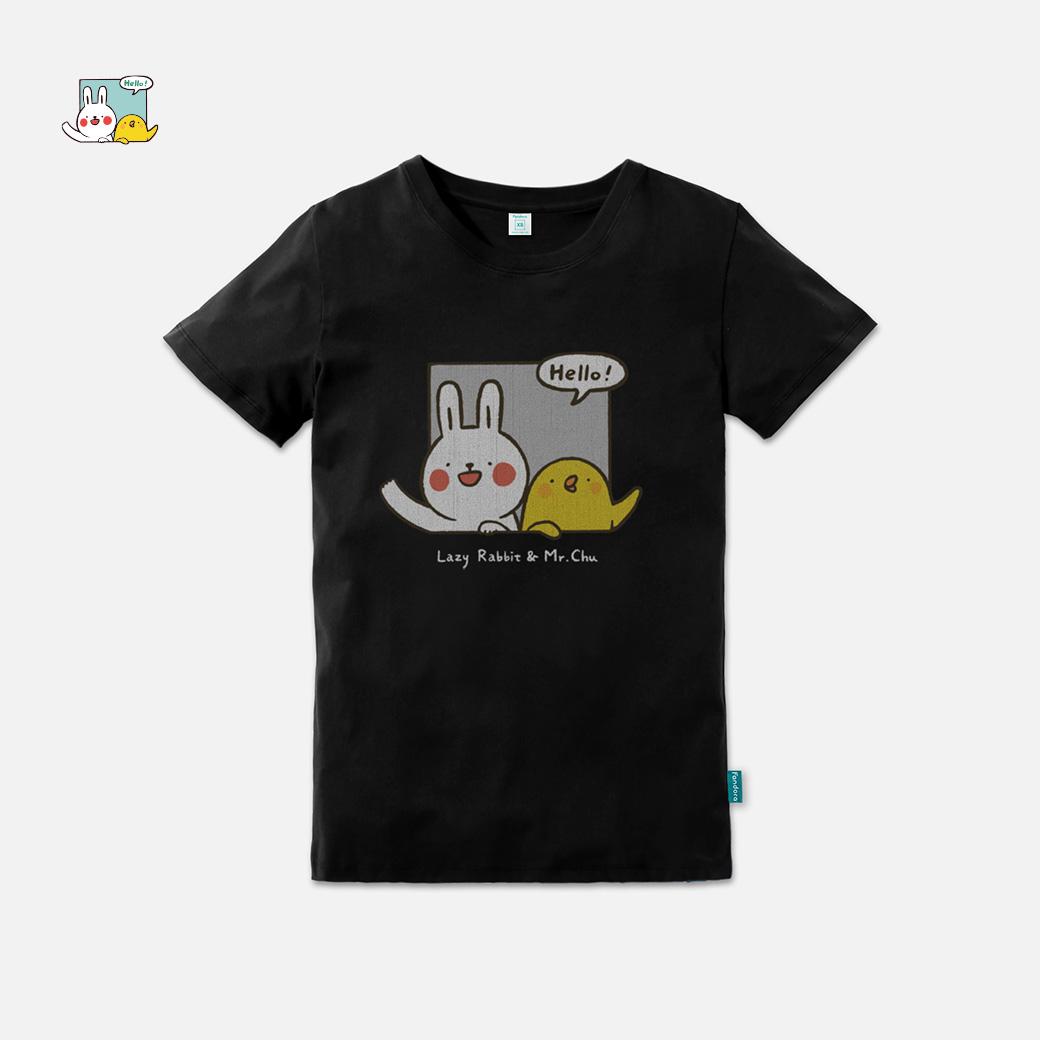 懶散兔與啾先生_say Hello企鵝黑T恤