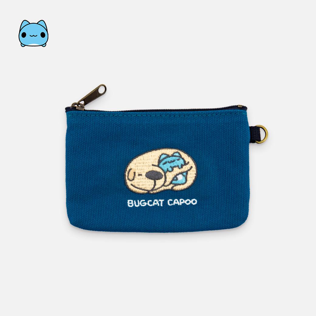 貓貓蟲咖波_刺繡帆布零錢包-狗狗抱咖波