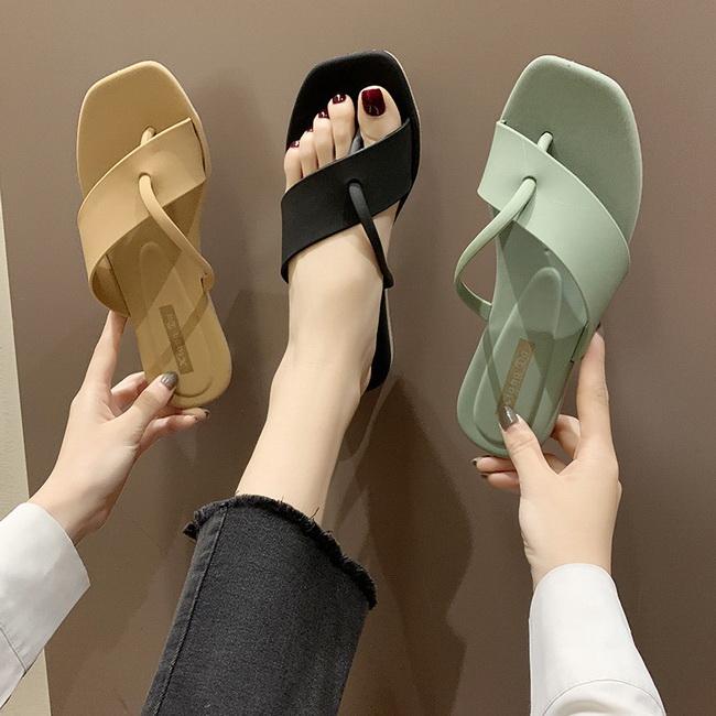 FOFU-拖鞋韓版純色沙灘鞋海邊平底夾腳拖鞋【02S12490】