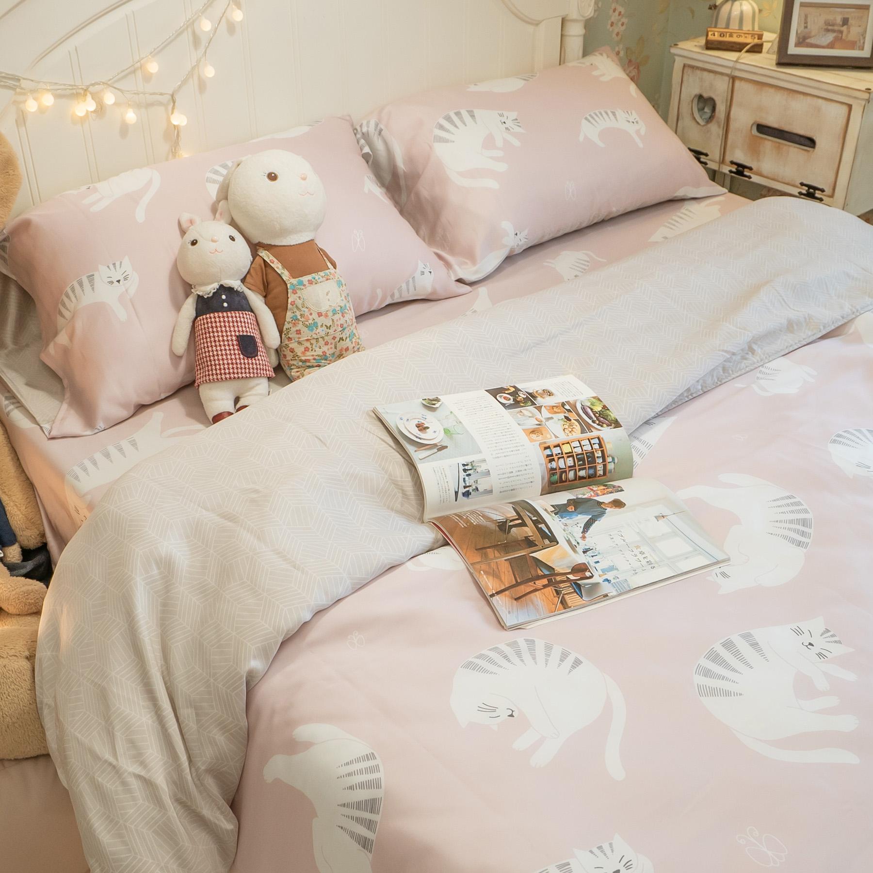 台灣製100%天絲 薄床包兩用被組合 眠眠貓【棉床本舖】