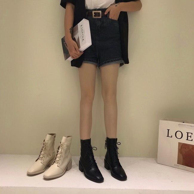 FOFU-短靴時尚個性方頭粗跟高跟短筒短靴【02S12558】