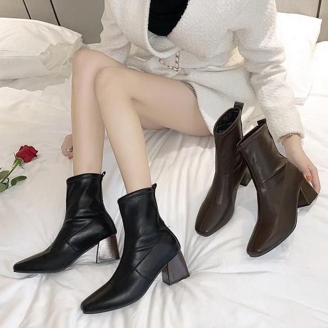 FOFU-短靴復古時尚方頭粗跟高跟短筒短靴【02S12560】