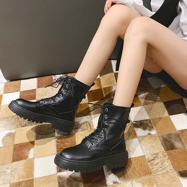 FOFU-短靴韓版漆皮綁帶厚底素面中筒靴短靴【02S12548】