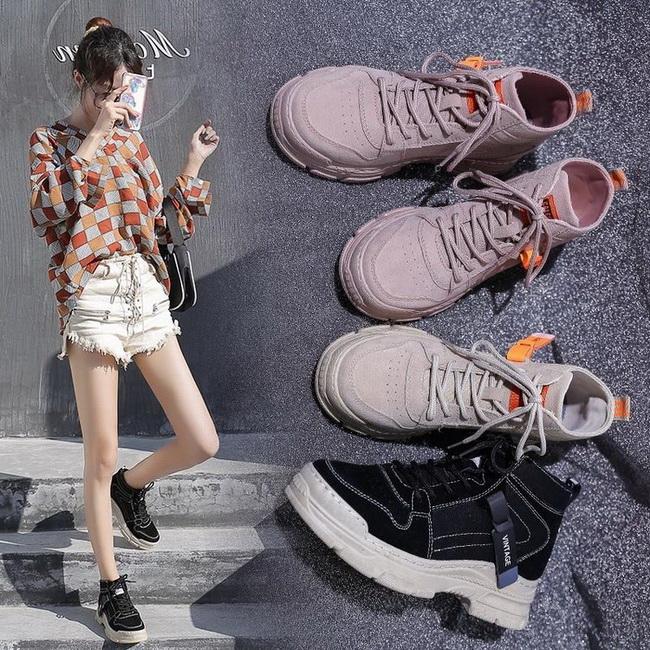 FOFU-休閒鞋韓版戶外風布磨砂綁帶圓頭休閒鞋短筒靴【02S12537】
