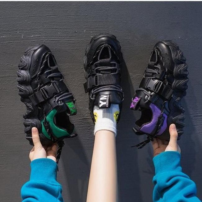 FOFU-老爹鞋韓版真皮透氣拼色綁帶厚底皮帶扣運動老爹鞋【02S12545】