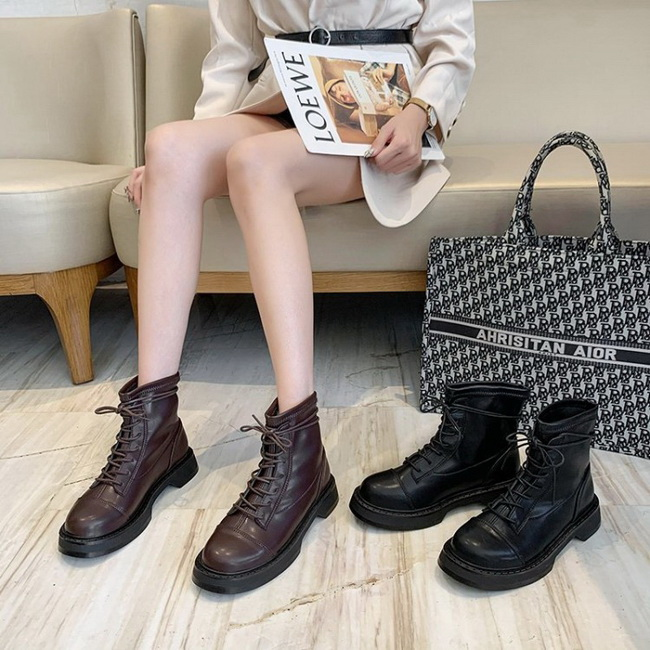 FOFU-短靴復古個性時尚圓頭平底中筒靴馬汀短靴【02S12561】