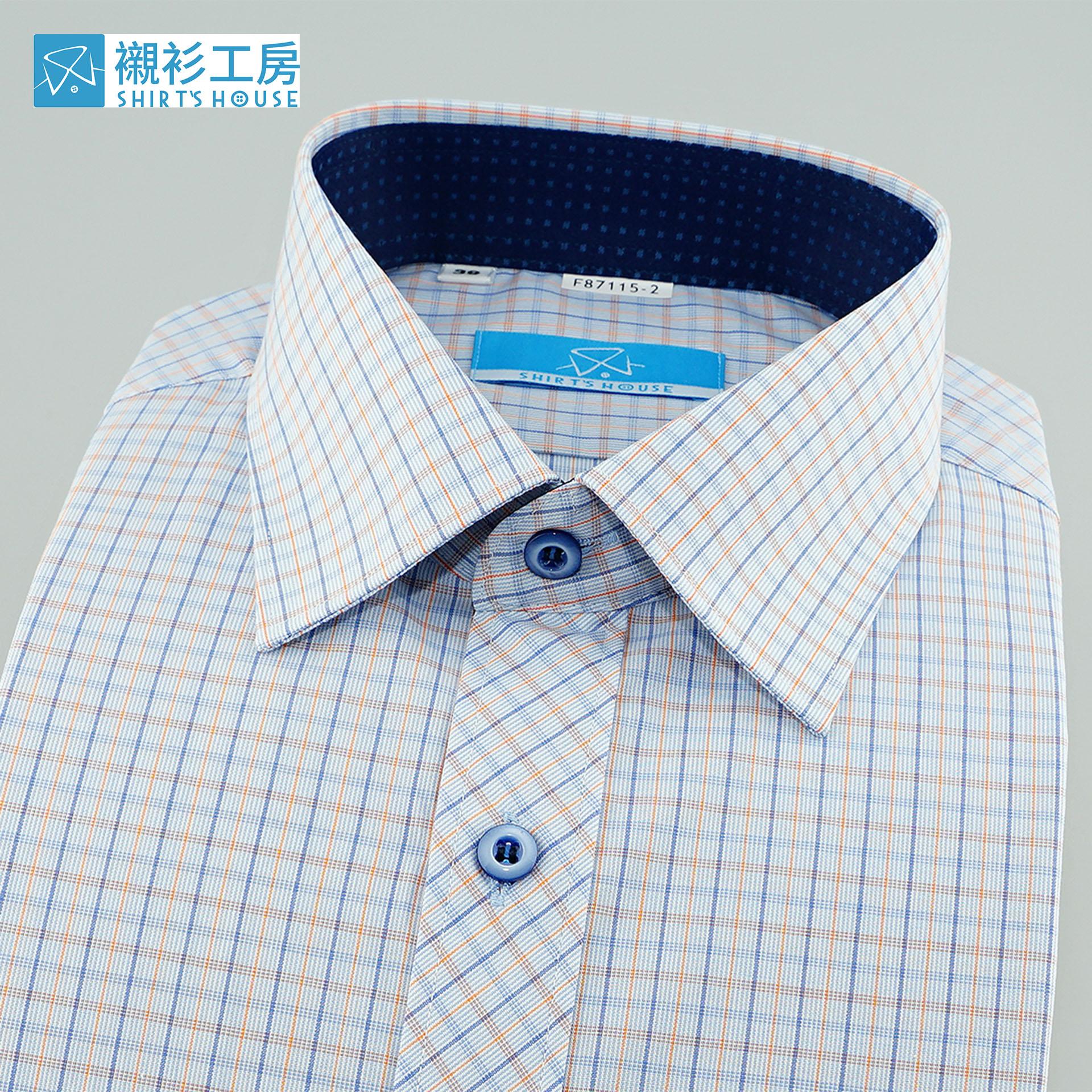 淺藍、橘色細格紋、門襟作斜格設計、領座配布合身長袖襯衫87115-02-襯衫工房