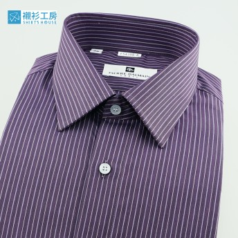 皮爾帕門pb深紫色底細條紋、鬱金香色適合裝悶合身長袖襯衫54398-08-襯衫工房