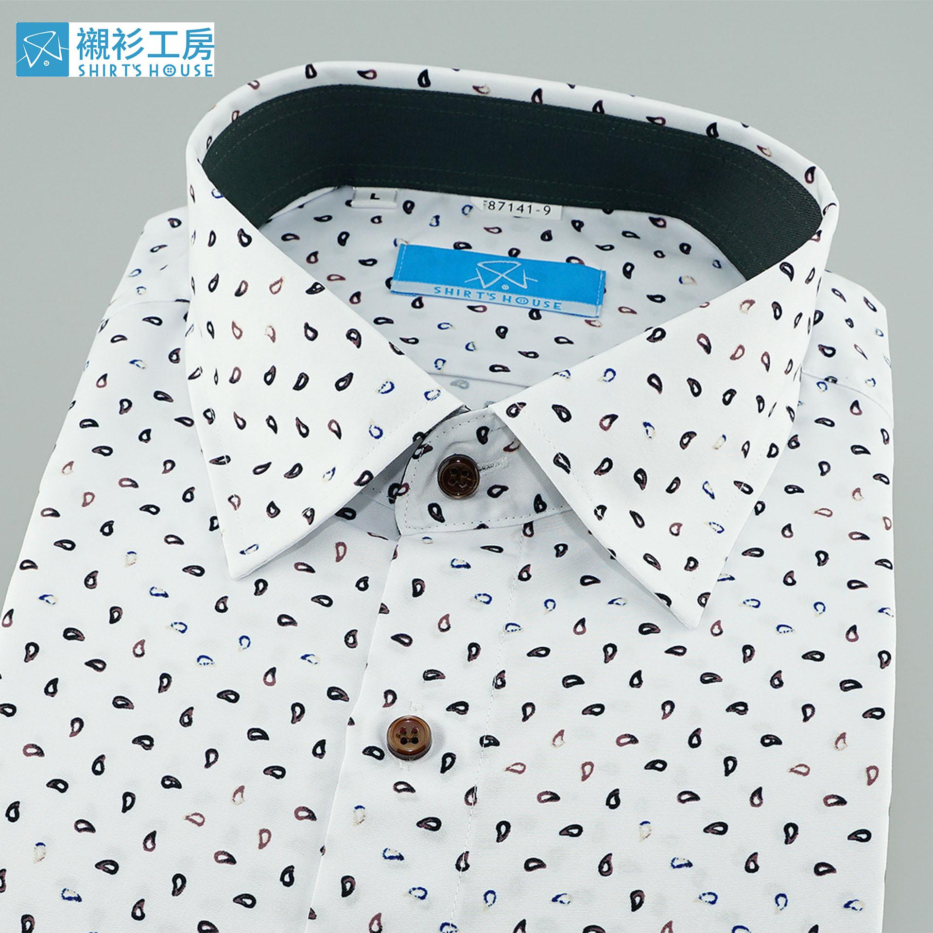 白底黑色變形蟲印花、時下正流行、領座配布合身長袖襯衫87141-09-襯衫工房