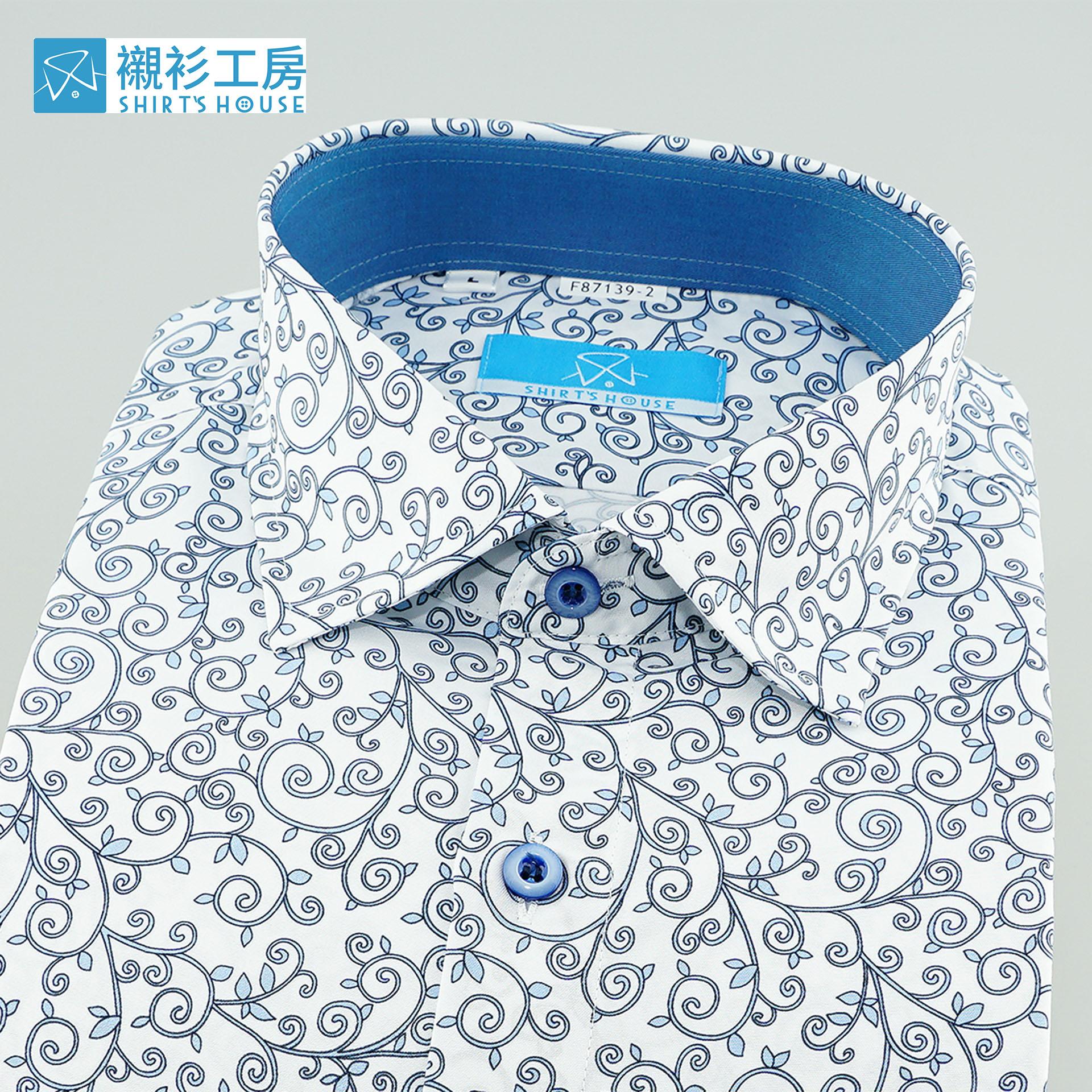 白底淺藍色瓜藤綿延抽象印花、領座配布合身長袖襯衫87139-02 -襯衫工房