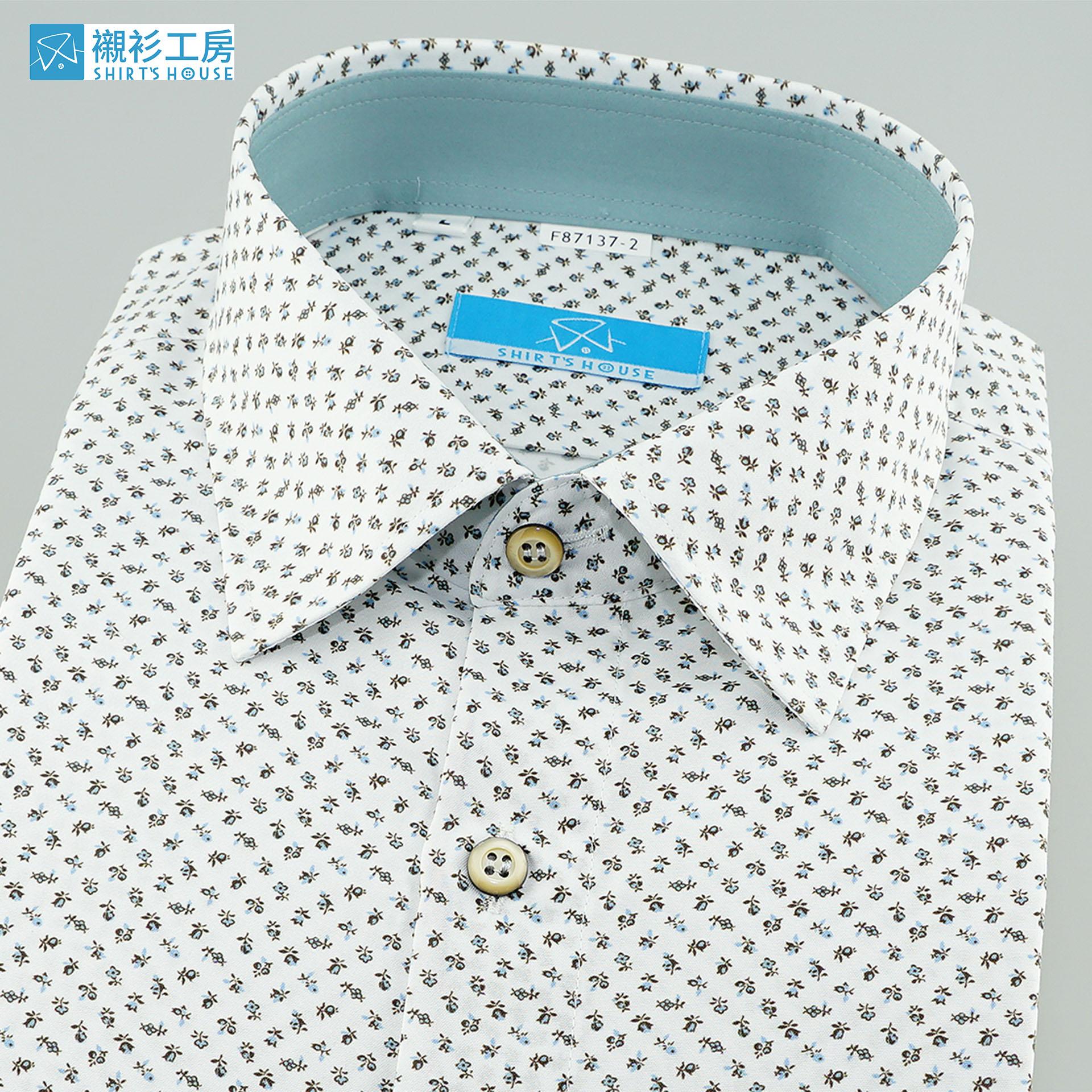 白底淺藍色抽象蜜蜂印花、時下正流行、領座配布合身長袖襯衫87137-02 -襯衫工房