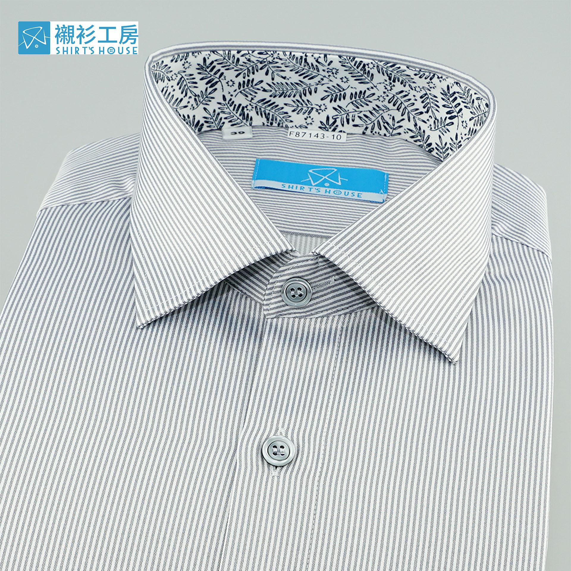 淺灰色細條紋、領座配印花布、低調內斂、老闆樣、合身長袖襯衫87143-10-襯衫工房